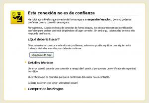 Error de certificado inválido en Firefox