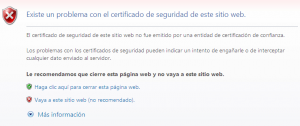 Error de Certificado en Internet Explorer 8